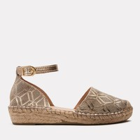 Ingrid Metallic Perf Leather Espadrille (Platino)