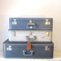 Vintage Tweed Grey Blue Luggage Suitcase Travel Display Home Decor Prop Wedding Gift for Him Her