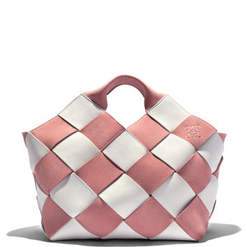 Loewe White and Pink Woven Gingham Mini Basket Bag - ShopBAZAAR