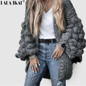 Winter Pink Gray Long Lantern Sleeve Ball Sweater Chic Knitted Loose Cardigan Solid Color Open Stitch Lady Outerwear SWD0731-47