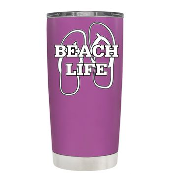 The Beach Life Sandals on Light Violet 20 oz Tumbler Cup