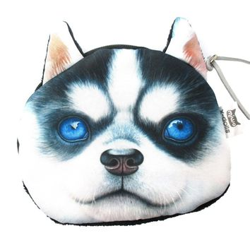 Realistic Siberian Husky Puppy Face Shaped Soft Fabric Coin Purse Make Up Bag