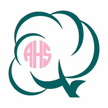 Cotton Boll Monogram Decal - Southern Monogram Decal