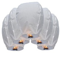 50 Pcs Chinese Sky Fly Fire Paper Lanterns Wish Balloon Wishing Lamp for Wedding Birthday Christmas Party White