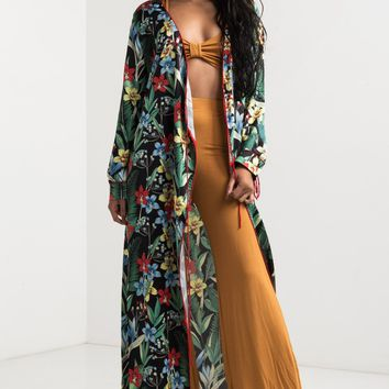 Long Sleeve Open Front Tropical Floral Print Kimono in Black