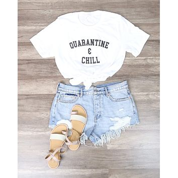 Distracted - Quarantine & Chill Funny Graphic Tee in White