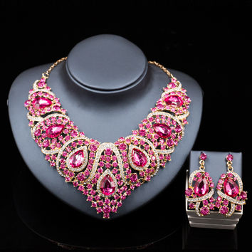 Africa beads jewelry set fashion nigerian wedding jewelry sets for brides gold color necklace and drop earrings  free shipping