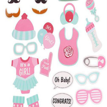 Its a Girl Photo Booth Props Masks Sticks 25 pc set Baby Shower - PRA115