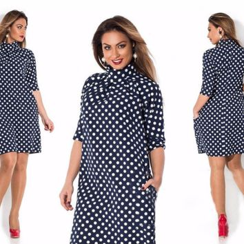 Lovely Polka Dot Plus Size Stylish Dress