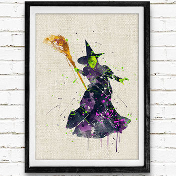 Witch Watercolor Art Print, Home Wall Art, Halloween Decor, Not Framed, Buy 2 Get 1 Free!