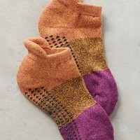 Pointe Studio Colorblock Grip Socks in Purple Motif Size: