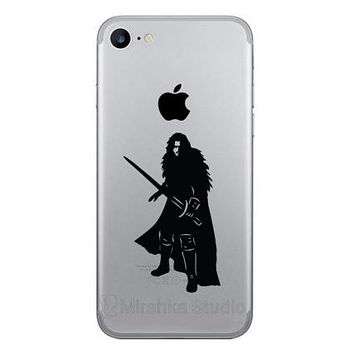 Jon Snow  iPhone 7 Stickers - Game Of Thrones Galaxy s8 Decals - GoT iPhone 6 Plus Decor - iPhone 7 Plus House Stark - Phone Vinyl Stickers