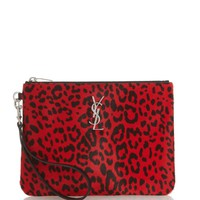 Monogram leopard-print calf-hair pouch | Saint Laurent | MATCHESFASHION.COM US