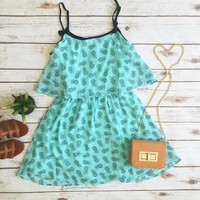 West Coast Pineapple Dress-Blue