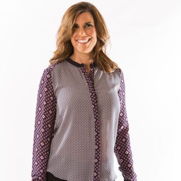 Diamond Print Blouse by Olive & Oak