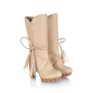 KEBEIORITY 2017 Women Warm Snow Boots Winter Women Riding Boots Female High Heels Thick Heel Women's Boots Lace Up High Boots