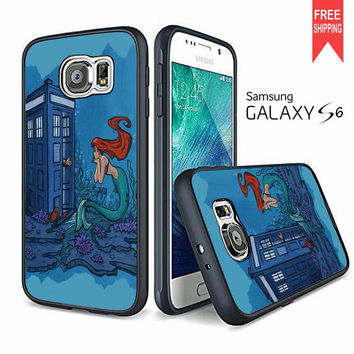Ariel Princess Tardis Watercolor Samsung Galaxy S6 Case