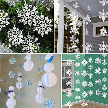 3m White Paper Material 3D Snowflake Pendant Garland Christmas Decoration HU