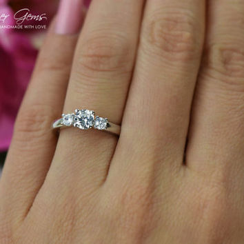 1 Carat, 3 Stone, Round Cut, Filigree Engagement Ring, Flawless Man Made White Diamond Simulants, Wedding Ring, Bridal Ring, Sterling Silver