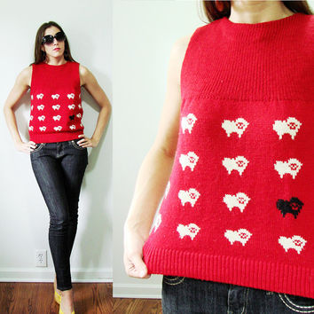 VINTAGE Black & White Sheep Red Knit Tank Top Autumn Unique Small
