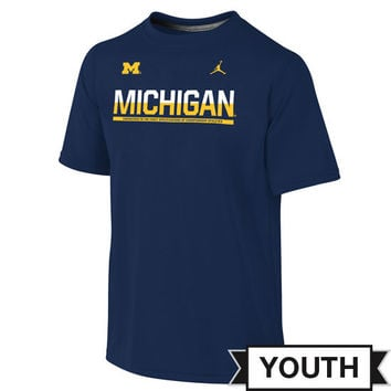 Jordan University of Michigan Football Youth Navy Dri-FIT Le