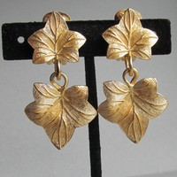 Signed Christian DIOR Gold Tone Double BOLD Textured Leaf Dangle Vintage 1980's Earrings