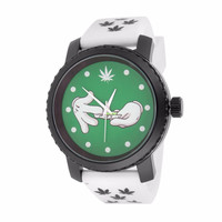 Marijuana Blunt Wrap Watch Green Weed White Silicone Band