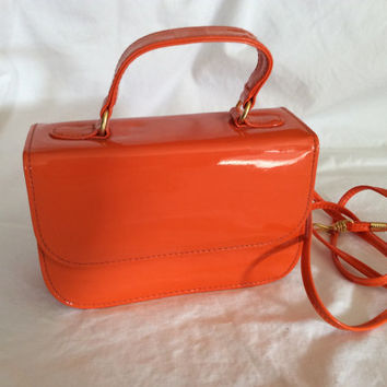Vintage Retro Orange Patent Leather Purse Mod 1960s 1980s 1950s handbag