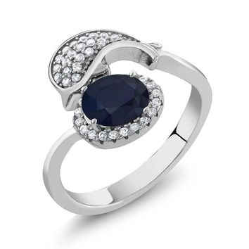 2.28 Ct Oval Blue Sapphire 925 Sterling Silver Ladies Dolphin Style Ring