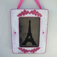 Eiffel Tower French Country Vintage Style Wall Decor Antiqued Mirror Pink Ivory Shabby Chic Cottage Silhouette Paris