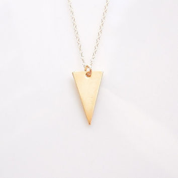 Triangle Geometric Necklace in Gold
