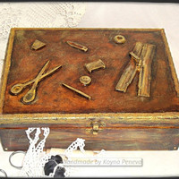 Box, hanmade, accessories sewing, wooden box, gift, tailor