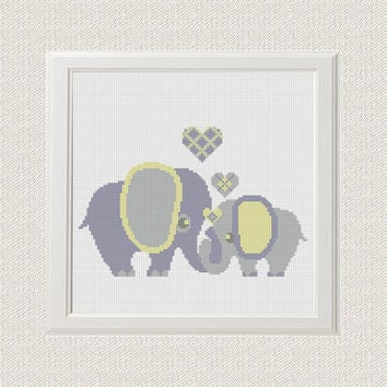 cross stitch pattern elephants with hearts, modern cross stitch, home decor wall art, elephant pattern, anniversary gift, best friend gift