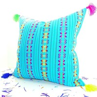 """Aqua Blue Mexican Pillow cover 20X20"""" with Tassels"""