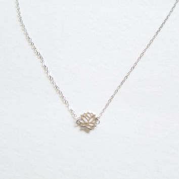 Single Lotus Flower Pendant Necklace in 14K Gold Plated and Sterling Silver
