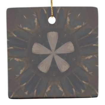 Kaleidoscope Design Dark Brown Rustic Art Ceramic Ornament