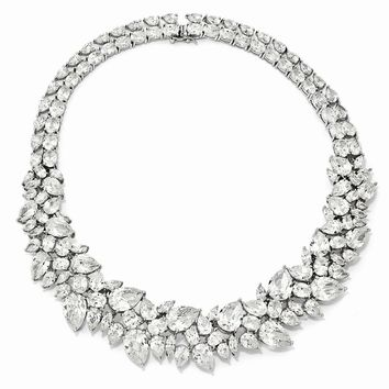 Sterling Silver CZ Fancy 15in Collar Necklace