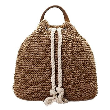 Brown Crochet Straw Backpack Bag with Drawstring Rope Strap
