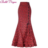 Belle Poque Vintage Skirts Womens 2017 Retro Gothic Saia Jacquard Sexy Fishtail Slim OL Corset Style Lace Up Women Long Skirt