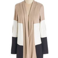 ModCloth Colorblocking Long Long Sleeve Patch My Drift? Cardigan in Latte