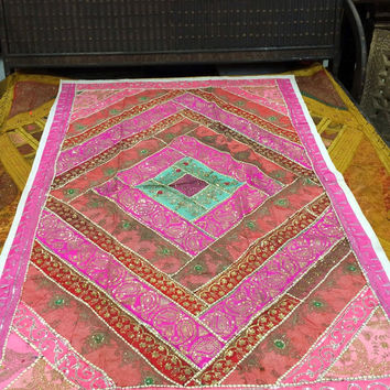 "Exotic Pink Vintage Sari Wall Hanging Patchwork Tapestry Decor India Art 60"" X 90"""