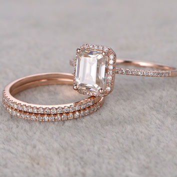 Emerald Cut Moissanite Engagement Rings Diamond Wedding Sets Rose Gold Half Eternity Thin Stacking 14K/18K