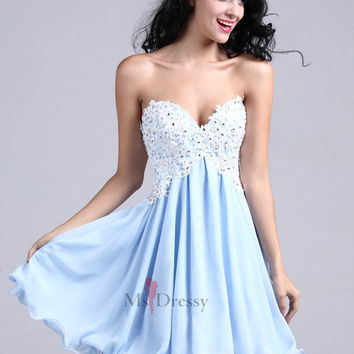 A-line Sweetheart Chiffon Short/Mini Light Sky Blue Appliques Homecoming Dress at Msdressy