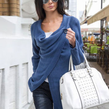 Long Sleeve Knitted Slit Cardigan with Button