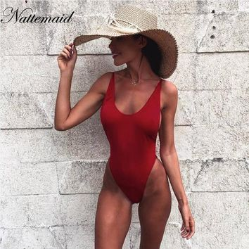 NATTEMAID Sexy bodysuit 2017 summer Red backless elastic women jumpsuit rompers Casual Ladies Solid color bodycon beach wear