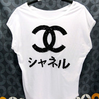 CHANEL JAPAN T Shirts handmade crystal seed beads sequins sew fix
