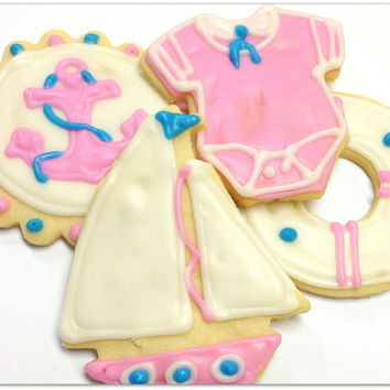 Nautical Girl Baby Shower Pink Sugar Cookies Sailor Anchor Sailboat Iced Decorated Cookies