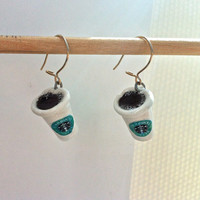 Starbucks Coffee Earrings - CHOOSE lid open and/or closed - (Hand-Sculpted, easy self-secure earring hooks)