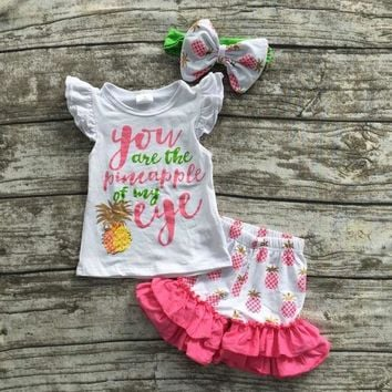 PEAPHY3 baby girls summer boutique clothes girls you are the pineapple of my eye set  summer ruffle shorts with matching headband