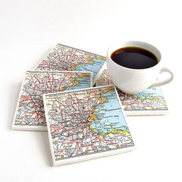 Boston Map Coasters / Boston Gifts  / Holiday Hostess Gifts / Christmas Gift for Parents / Gifts Under 40 / Gifts for Men / Gift for Friend